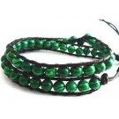 New  Malachite Beads Leather Wrap Cuff Bracelet-CL047