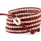 Pearls Ball 5 couture Handmad wrap bracelet with 925 Silver button  CL-052