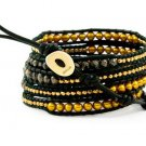 Pearls Ball 5 couture Handmad wrap bracelet with 925 Silver button  CL-054