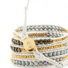 Pearls Ball 5 wrap bracelet couture Handmad with 925s button  CL-57