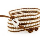 Pearls Ball 5 wrap bracelet couture Handmad with 925s button  CL-59