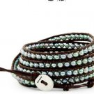 Pearls Ball 5 wrap bracelet couture Handmad with 925s button  CL-60