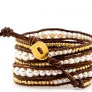 Pearls Ball 5 wrap bracelet couture Handmad with 925s button  CL-71