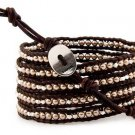 Pearls Ball 5 wrap bracelet couture Handmad with 925s button  CL-72