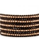 Rose Gold  Ball 5 wrap bracelet couture Handmad with 925s button  CL-76