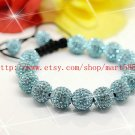 WWW Very Pretty  AAA 14x12MM and 2x10MM Crystal Stones Bead Pave Disco Ball  Macrame  Bracelet