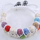 11X10MM Crystal stones Bead Pave Disco Ball with natural stone  Double Rows  Macrame bracelet
