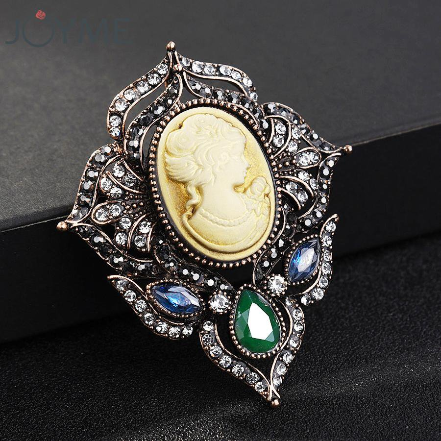 For Women Clothing Dress Accessories with Beauty Head Lady Cameo Pendant Charms
