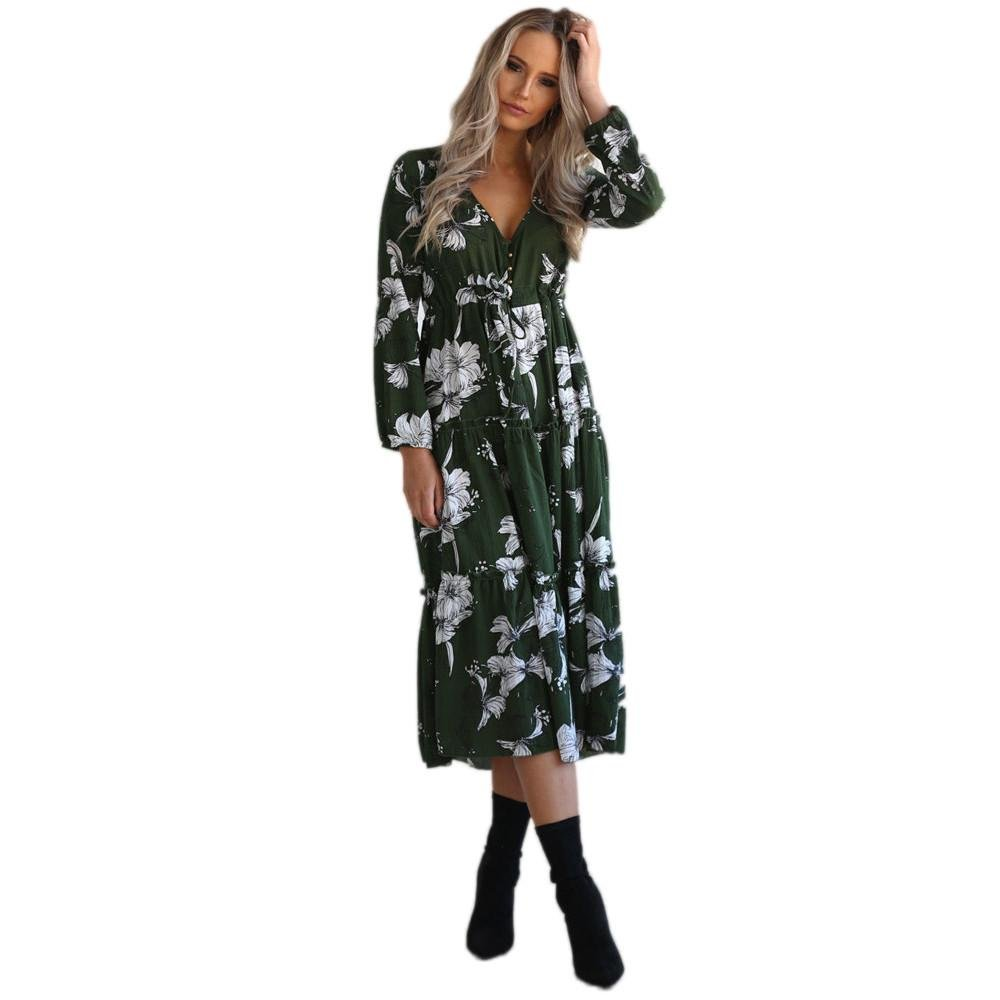Printed V Neck Floral Casual Beach Party Mid-Calf Dress