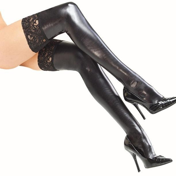 Sexy Women\'s Patent leather Lingerie Black Thigh High Stockings With Lace