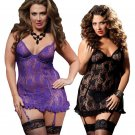 S-6XL New 2016 Europe And Large Size Lingerie Sexy Perspective Containing Lace Garters Fantasias Sex