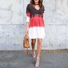2017 Fashion Autumn Women Choker V Neck Long Sleeve Gradient Color Casual Loose Mini Dress OL work P