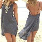 2017 New Beach Dresses Women Sleeveless Short Asymmetrical Maxi Evening Party gray Backless Dress