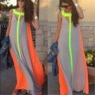 2017 Summer Women Sleeveless Maxi Dress Boho Contrast Color Beach Party Long Dress Femininas Casual