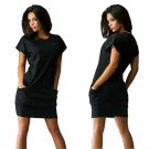 Solid Work Wear Summer Dress Fashion Short Sleeve Beach Casual Evening Party Short Mini Dress with P