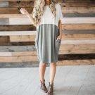 2017 Women Summer Dress Elegant Short Sleeve O Neck Midi Dresses Fashion Ladies Casual Loose Pockets