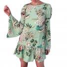 Flare Sleeve Women Sexy Floral Printing Dress Long Sleeve Mini Party Dress Faldas festa Casual Loose
