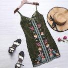 2017 New Fashion Women Sleeveless Floral Print Mini Dress Casual Spaghetti Strap V Neck Bodycon Club