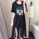 2017 New Plus size 5XL Summer Dress Sequins Eyes Patchwork Women Cotton Knee-Length Casual Dress Sho
