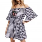 Fashion 2017 Sexy New Women Off Shoulder Butterfly Sleeve Mini Dress Plaid Print Embroidery Patchwor