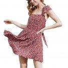 Floral Printing Dress Hot Sale 2017 Women Sexy Straps Camisole Dress Sleeveless Beach Mini Dress Blu