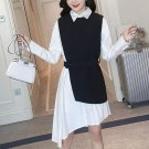 Shirt Dress Women\'s Suit Two Piece Set Long Sleeve Lace Up White Black Asymetrical Vest Dress Femal