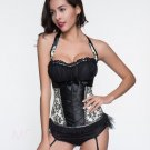 MOONIGHT Sexy Lingerie Hot Gothic Black White Halter Floral Lace Bustier Corset Top For Women Waist