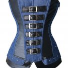 Sexy Gothic Steampunk Overbust Corset Faux Leather and Denim Jean Bustiers Top zipper side Plus Size