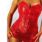 Sexy Lingerie Women Black Leather Lace Steampunk Corset Lady PVC Mini Dress Waist Gothic Bustier Zip