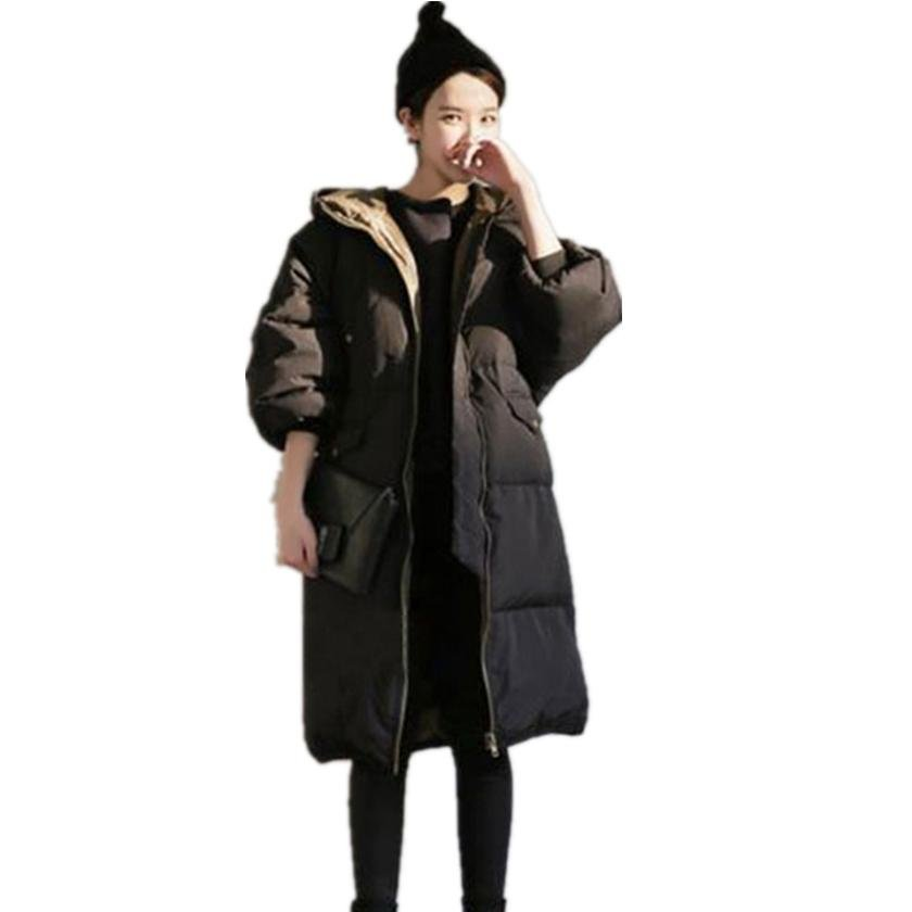 Fashion Winter Women Down Jacket Long Sleeve with White Duck Down Filling Long and thin Coat Outwear