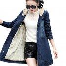 2017 Women Winter Medium-Long Parka New Hooded Vintage Fleece Jean Coat Thicken Velvet Wadded Outwea