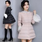 P793 New Fashion Bow Waist Fluffy Skirt Single Breasted Flare Sleeve Lace Warm Coat Winter Women Dow