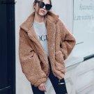 Faux Fur Coat Women Jacket Autumn Winter Coats Full Sleeve Pockets Zip Up Women\'s Coats Jackets Cas