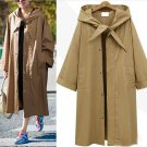 Women FashionL-5XL Solid Hooded Pockets Ladies Long Sleeve Loose Plus Size Autumn Winter Long Jacket