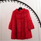 Elegant stand collar wave cut full pelt natural rabbit fur coat outerwear women\'s autumn winter 201