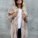 Women Ladies Winter Autumn Fashion Hooded Long Batwing Sleeve Soft Casual Cardigan Open Front Coat O