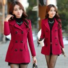 Winter Woolen Coats For Women Fashion Solid Double Breasted Overcoat Turn-down Collar Slim Outerwear