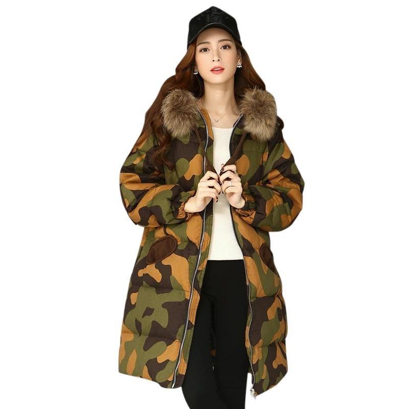 2017 New Fashion Camouflage Women Down Coat Thickness Winter Coat Women Long Coat Womens Down Jacket