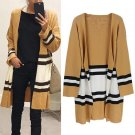 new Autumn and winter Yellow sweater cardigan Europe Printed Striped coat ladies loose sweater