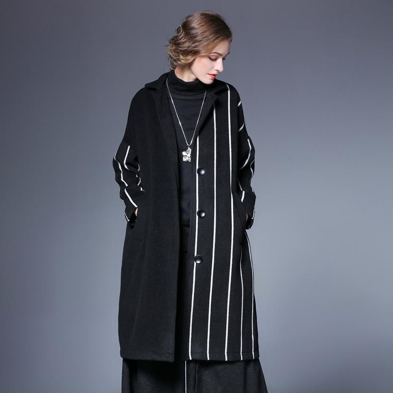 SuperAen Striped Woolen Pluz Size Women Coat Europe Long Sleeve Fashion Wild Winter New Woolen Coat