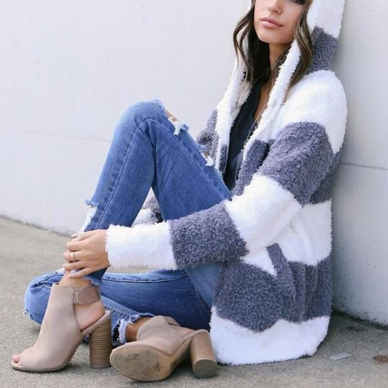 Ladies Fashion Front Open Knitted Hooded Sweater Cardigans Casual Striped Coat Women Autumn Winter L