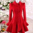 2017autumn and winter red flounced Slim ladies fashion woolen coat women