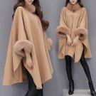 Winter new Korean imitation fox fur collar and long sections woolen coat temperament cloak cape Loos