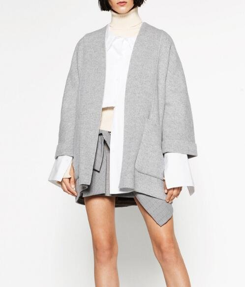 2016 Autumn Winter Fashin Grey Woman Wool Handmade short kimono with flared turn-up sleeves Side pat