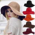 100% fedoras cashmere wool Pure Solid Wide Brim Large Hats For Women Vintage Wide Brim Floppy Felt D