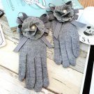 rabbit Fur Blended Mittens Gloves Women Winter Camellia Pearl Imitation Bowknot Black Touchscreen La