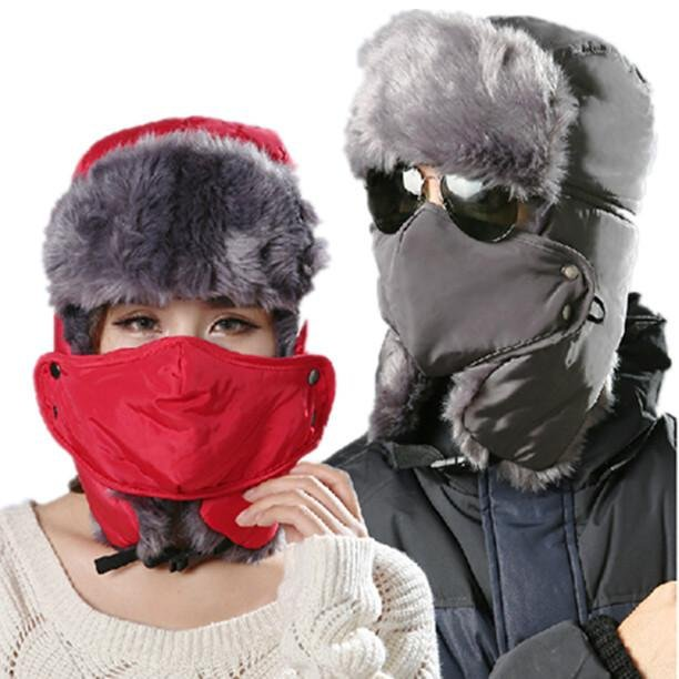 High Quality Thicken Winter Hat For Man Solid Hats Russian Hat Sport Outdoor Ear Mask Bomber Caps Fo