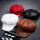 2016 Fashion Cool PU Beret Hat for Men and Women Gorras Planas Vintage Leather Boinas Cap Winter out