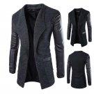 New Winter Fashion 2015 Leather Sleeve Long Wool Men Coat Hot Casual Slim Fit Men Jacket Coat Patchw