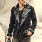 2017 new winter male slim double breasted Faux leather jacket men brand retro leather jacket coat wa